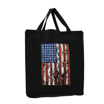 American Flag on front of black cotton twill grocery bag.