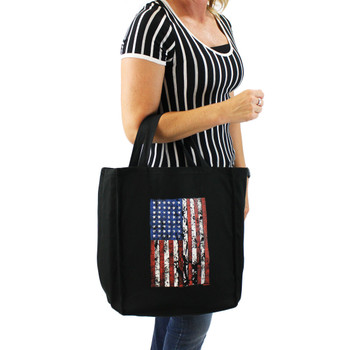 Life picture of American Flag of black cotton twill grocery bag.