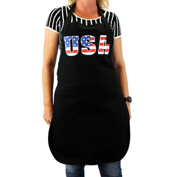 Red, white and blue USA on black cotton apron.