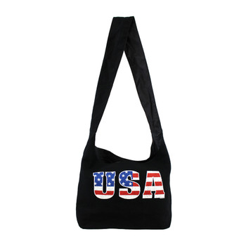 Black sling bag with USA American Flag on front.