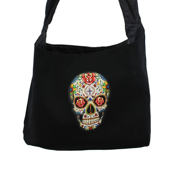 Close up view of Day of the Dead skull bag.