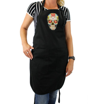 Colorful Sugar Skull design on the front of a black cotton apron.