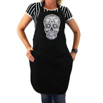 Black and white skull on black apron.