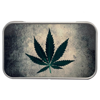 Green Pot Leaf Small Metal Tin Box