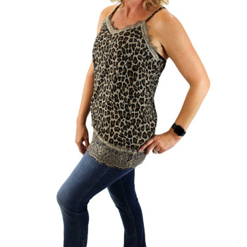 Leopard print strappy tank top with lace detail side view.