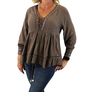 Taupe brown bohemian blouse top.