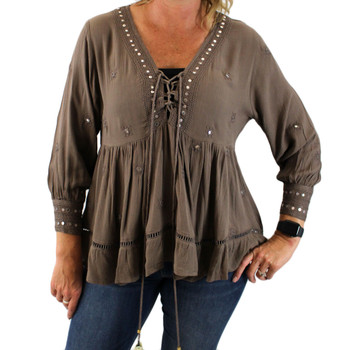 Taupe brown bohemian blouse top front view.