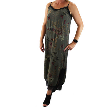 Women's green floral maxi dress.