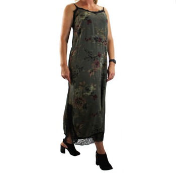 Women's green floral maxi dress with lace trim.