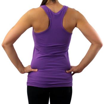 Backside of purple tank top with white Mandala.