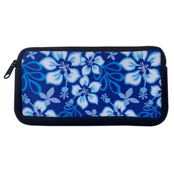 Blue Hibiscus Flowers Cosmetic Bag