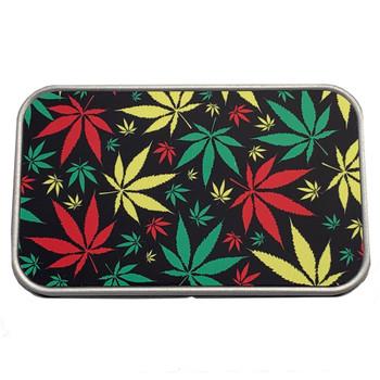 Rasta Marijuana Leaf Metal Tin Stash Box