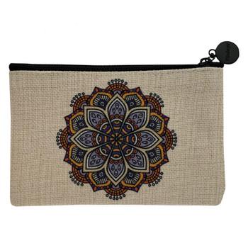 Mandala Small Linen Cosmetic Bag