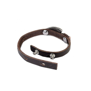 Brown Leather Bracelet back view