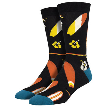 Black Men's Bamboo Surfboards Socks