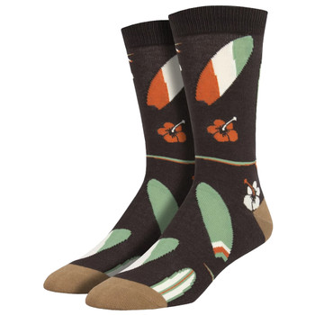 Brown Men's Bamboo Surfboards Socks