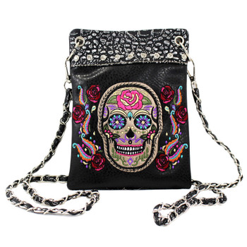 Sugar Skull Black Pouch Purse