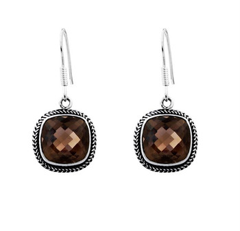 Smoky Topaz sterling silver earrings from Bali.