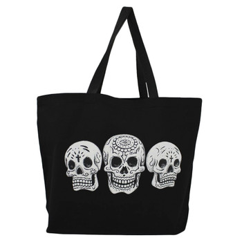 Skull Large Black Tote Bag