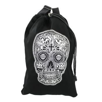 White Skull Cinch Backpack Purse