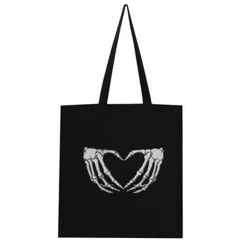 Skeleton Hand Heart Tote Bag Shopper