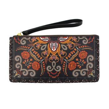 Floral design wristlet wallet.