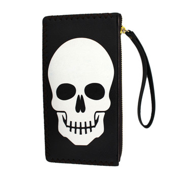 White skull face on wristlet wallet.