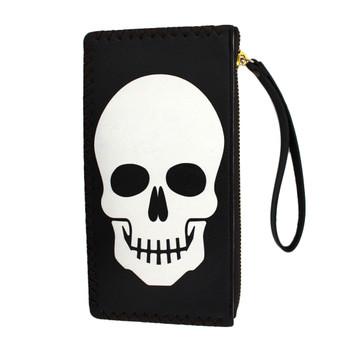 White skull face on wristlet wallet.