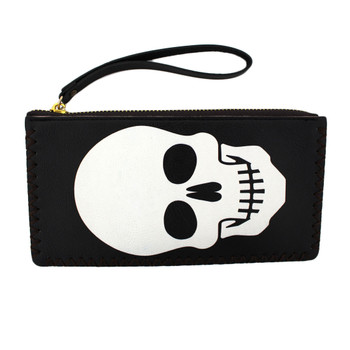 White skull face on black wristlet wallet.