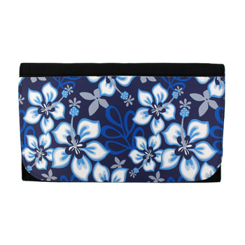Blue hibiscus flower design on black women's wallet.