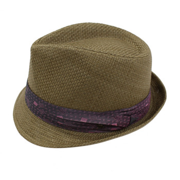 Peter Grimm Stoli Fedora brown hat with purple satin band side view.