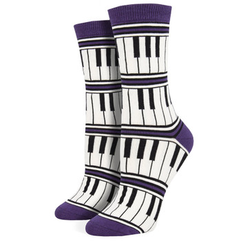 Piano Keys Women's Bamboo Crew Socks