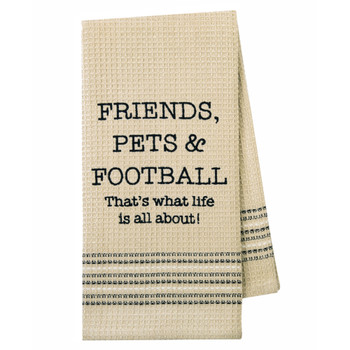 Friends, Pets and Football Kitchen Dishtowel