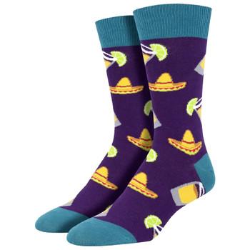 Fiesta Friday Men's Purple Crew Socks