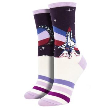 Starburst Nasa Graphic Print Women's Crew Socks