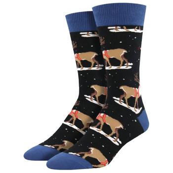 Winter Reindeer Men's Crew Socks Black