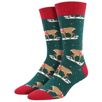 Winter Reindeer Men's Crew Socks Green