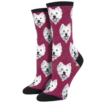 Westie Puppy Dog Women's Crew Socks Berry