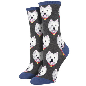 Westie Puppy Dog Women's Crew Socks Grey