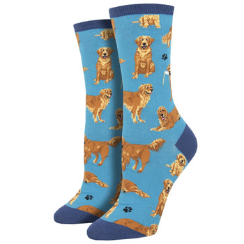 Golden Retrievers Women's Crew Socks Blue