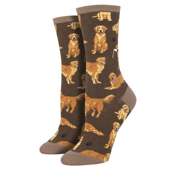Golden Retrievers Women's Crew Socks Brown