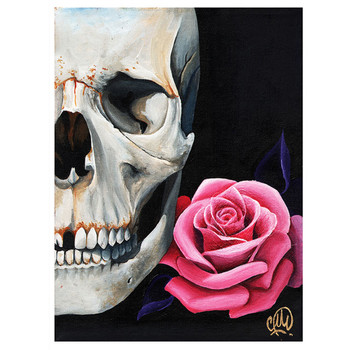 Christina Ramos Rose and Skull Art Print