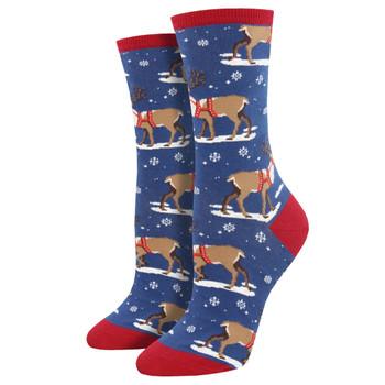 Winter Reindeer Women's Crew Socks Blue