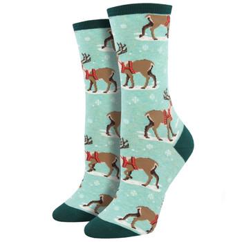 Winter Reindeer Women's Crew Socks Green