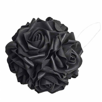 ROSE6 - Black Rose Decorative Hanging Ball side view