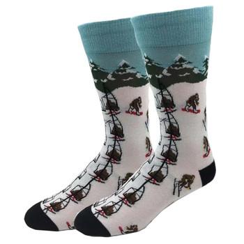 Skiing Bigfoot Men's Crew Socks