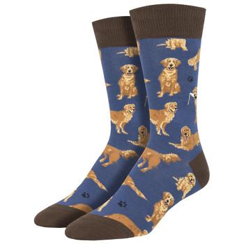 Golden Retrievers Men's Crew Socks Blue