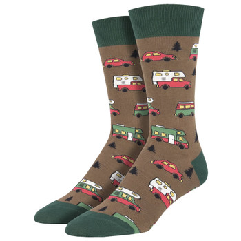 Are We There Yet Men's Crew Socks Brown