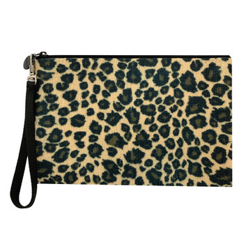 Leopard Cosmetic Bag Linen Pouch