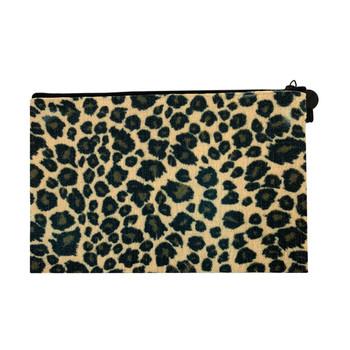 Leopard Cosmetic Bag Linen Pouch back side
